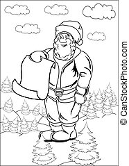 Cartoon Santa Claus Blank List Page - Santa Claus is holding...