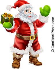 Cartoon illustration of Santa Claus waving and holding a Christmas present