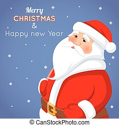 Cartoon Santa Claus Character Icon on Stylish Background Christmas Greeting Card Template Poster Vector illustration
