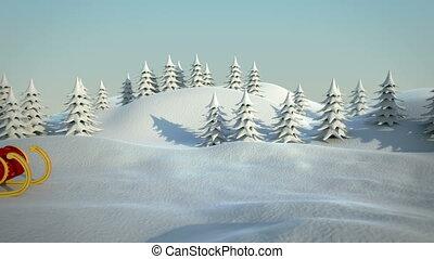 santa claus driving in his sleigh t
