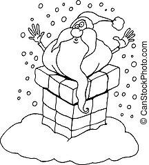 cartoon santa claus for coloring book