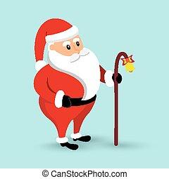 Cartoon Santa Claus is coming. Vector illustration.
