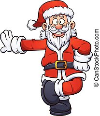 Cartoon Santa Claus leaning on something. Vector clip art...