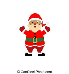 Cartoon santa claus on a white, isolated background. Vector illustration.