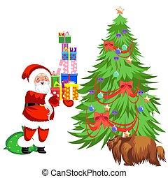 Cartoon santa claus putting presents under christmas tree