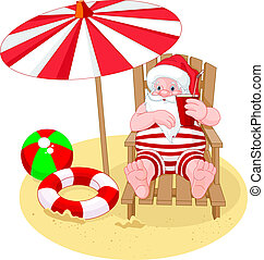 Cartoon Santa Claus relaxing on the beach