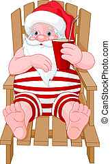 Santa Claus relaxing on the beach - Cartoon Santa Claus...