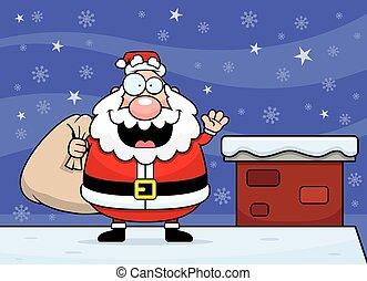 Cartoon Santa Claus Rooftop