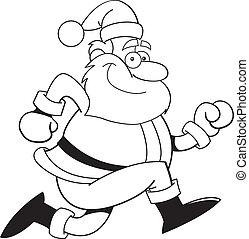 Cartoon Santa Claus running