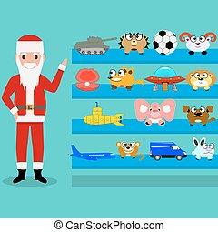 Cartoon Santa Claus shows the toys on the shelf