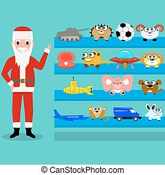 Cartoon Santa Claus shows the toys on the shelf