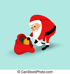 Cartoon Santa Claus sitting on a chair and read long letter. illustration