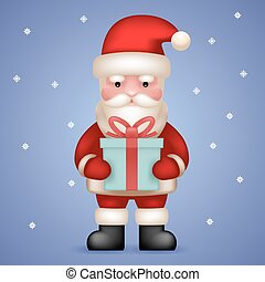 Cartoon Santa Claus Toy Character Hold Present Gift Box Icon on Snowflakes Background Vector Illustration