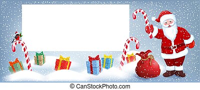 Cartoon Santa Claus wit striped candy and gift box anr big Christmas bag near billboard for layout congratulation or letter with list wish to Santa Claus