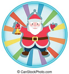 Cartoon Santa Claus with a Christmas bell