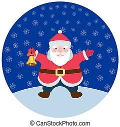 Cartoon Santa Claus with a Christmas bell