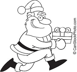 Cartoon Santa Claus with a gift