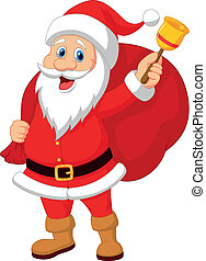 Cartoon Santa Claus with bell carry - Vector illustration of...
