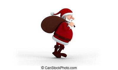 Santa Claus with gift bag running