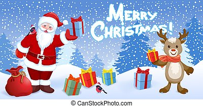 "Cartoon Santa Claus with gift box and reindeer deer with bullfinches bird on background of Christmas snowfall in forest and inscription ""Merry Christmas"". New Year or Christmas vector illustration"