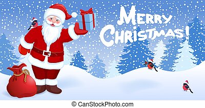 "Cartoon Santa Claus with gift box on background of Christmas snowfall in forest and inscription ""Merry Christmas"""