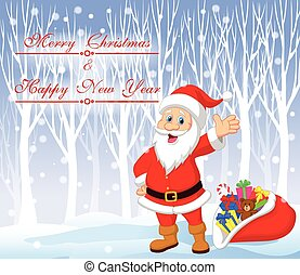 Cartoon Santa clause with winter