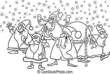 cartoon santa clauses coloring page