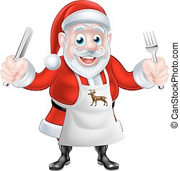Cartoon Santa Cook - A Christmas cartoon illustration of ...