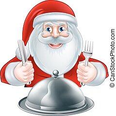 Cartoon Santa Dinner