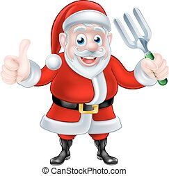 Cartoon Santa Giving Thumbs Up and Holding Fork