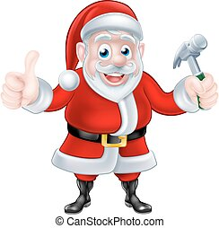 Cartoon Santa Giving Thumbs Up and Holding Hammer