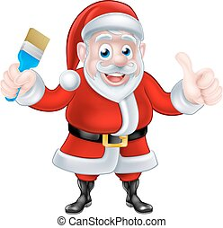 Cartoon Santa Giving Thumbs Up and Holding Paintbrush