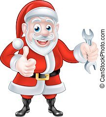 Cartoon Santa Giving Thumbs Up and Holding Spanner
