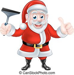 Cartoon Santa Giving Thumbs Up and Holding Squeegee
