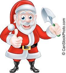 Cartoon Santa Giving Thumbs Up Holding Trowel Spade -...