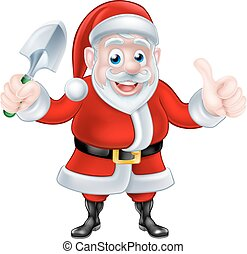 Cartoon Santa Giving Thumbs Up Holding Trowel Spade