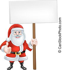 Cartoon Santa Holding a Sign