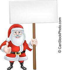 Cartoon Santa Holding a Sign