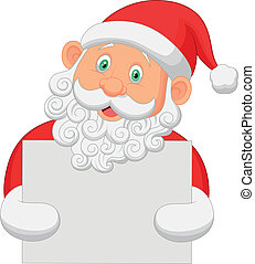 Cartoon Santa holding blank sign