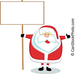 Cartoon Santa holding blank sign.
