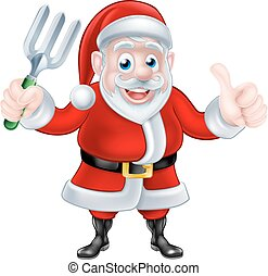 Cartoon Santa Holding Fork and Giving Thumbs Up