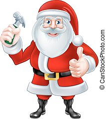 Cartoon Santa Holding Hammer
