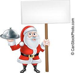 Cartoon Santa Holding Platter Sign - A Christmas cartoon...