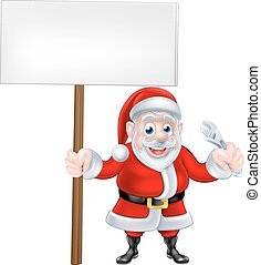 Cartoon Santa Holding Sign and Wrench