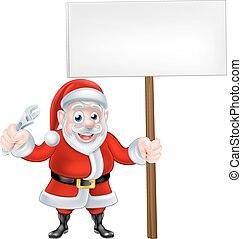 Cartoon Santa Holding Wrench and Sign