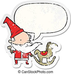 cartoon santa (or elf) making a rocking horse and speech bubble distressed sticker