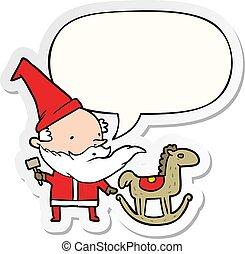 cartoon santa (or elf) making a rocking horse and speech bubble sticker