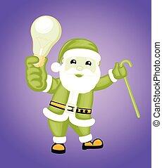 Cartoon Santa Showing a Bulb