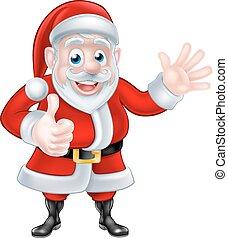 Cartoon Santa Waving Thumbs Up