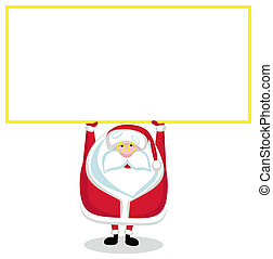 Cartoon Santa with copy space. illustration